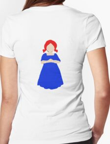 Cute Little Girl with Red Hair and a Blue Dress Womens Fitted T-Shirt