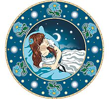 Dreaming girl among moonlight flowers Photographic Print