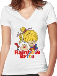 Rainbow Brite - Group - Rainbow & Twink - Large - Color Women's Fitted V-Neck T-Shirt
