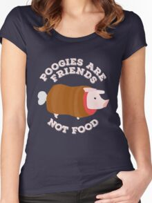 Poogies Are Friends - Not Food! Monster Hunter Women's Fitted Scoop T-Shirt
