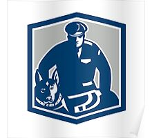 Canine Policeman With Police Dog Retro Poster