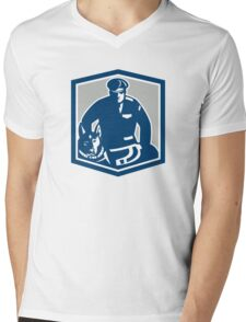 Canine Policeman With Police Dog Retro Mens V-Neck T-Shirt