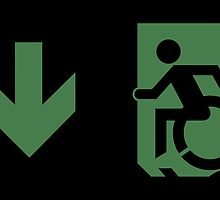 Accessible Means of Egress Icon Emergency Exit Sign, Left Hand Down Arrow by Egress Group Pty Ltd