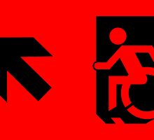 Accessible Means of Egress Icon Emergency Exit Sign, Left Hand Diagonally Up Arrow by Egress Group Pty Ltd