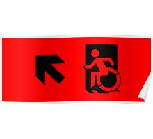 Accessible Means of Egress Icon Emergency Exit Sign, Left Hand Diagonally Up Arrow Poster