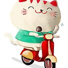 Happy Maneki Neko on Scooter by colonelle