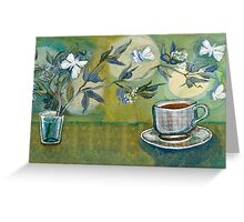 Green Tea with Moon and Moths Greeting Card
