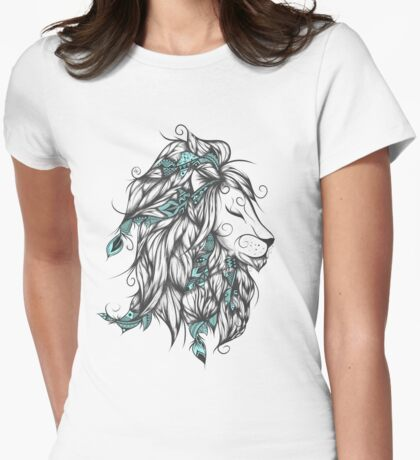 Poetic Lion Turquoise Womens Fitted T-Shirt