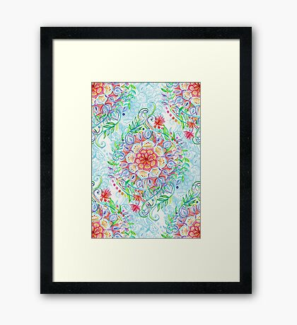 Messy Boho Floral in Rainbow Hues Framed Print