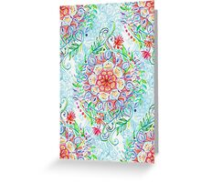 Messy Boho Floral in Rainbow Hues Greeting Card