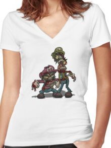 Zombie Mario & Luigi Women's Fitted V-Neck T-Shirt