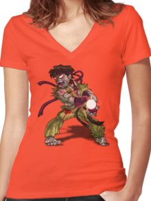 Zombie Ryu (Street Fighter) Women's Fitted V-Neck T-Shirt