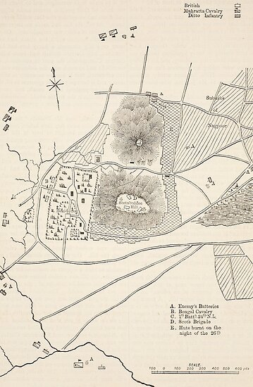 Plan of the defence of Seetabuldee Hill by Bridgeman Art Library