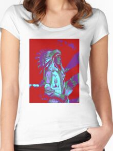 Indian Chief Pop Art Women's Fitted Scoop T-Shirt