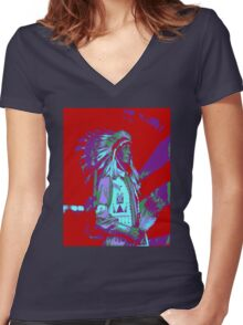 Indian Chief Pop Art Women's Fitted V-Neck T-Shirt