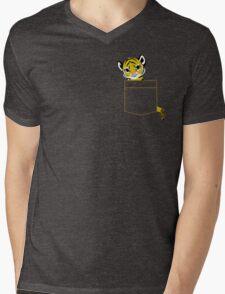 Pocket Tiger (Purple Shirt) Mens V-Neck T-Shirt