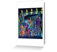 Let's dance tonight! The streetmusicians play in the big saloon under the bridge. Greeting Card