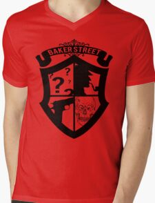 Baker Street Black Mens V-Neck T-Shirt