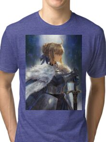 Fate/Zero Saber Wallpaper Poster Tri-blend T-Shirt
