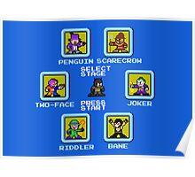 8-bit Batman/Megaman Mash-up Stage Select Poster