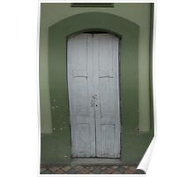White Door in Green Wall Poster