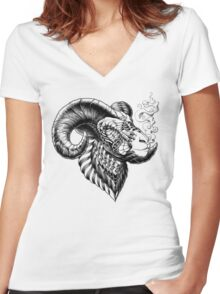 Bighorn Sheep Women's Fitted V-Neck T-Shirt