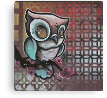 owl & cherry blossom original tattoo art Canvas Print