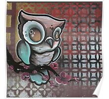 owl & cherry blossom original tattoo art Poster