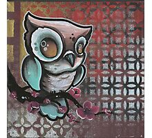 owl & cherry blossom original tattoo art Photographic Print