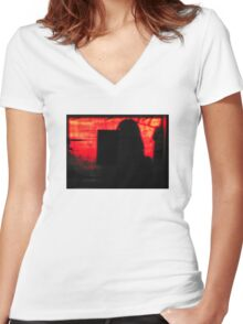 Behind The Facade Women's Fitted V-Neck T-Shirt