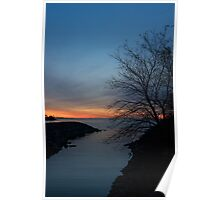 Waiting for Dawn - Lakeside Blues and Oranges Poster