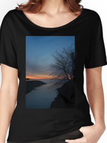 Waiting for Dawn - Lakeside Blues and Oranges Women's Relaxed Fit T-Shirt