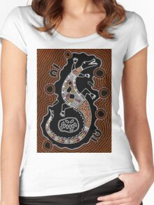 Authentic Aboriginal Art - Crocodile  Women's Fitted Scoop T-Shirt