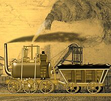Blenkinsop's Leeds Locomotive 1815 - sepia by Dennis Melling