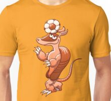 Nice armadillo balancing a soccer ball on its head Unisex T-Shirt