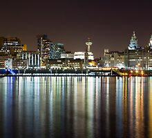 Liverpool skyline in the night by Paul Madden