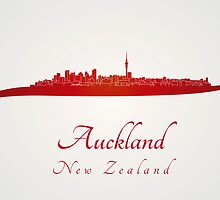Auckland skyline in red by paulrommer