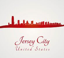 Jersey City skyline in red by Pablo Romero