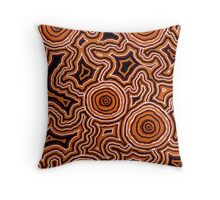 Aboriginal Art - Pathways - Authentic Design Throw Pillow
