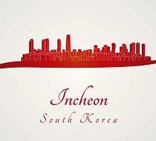 Incheon skyline in red by Pablo Romero