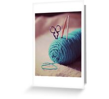 turquoise yarn Greeting Card