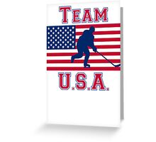 Hockey American Flag Team USA Greeting Card