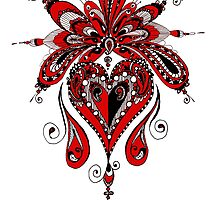 Wild Heart Black Red and White by wildwildwest