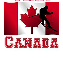 Skiing Canadian Flag Team Canada by kwg2200