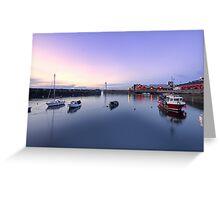 Nightfall over Newhaven Harbour, Edinburgh Greeting Card