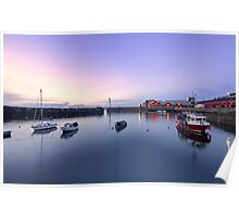 Nightfall over Newhaven Harbour, Edinburgh Poster