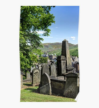 New Calton Cemetery with Holyrood Palace in the background. Edinburgh Poster