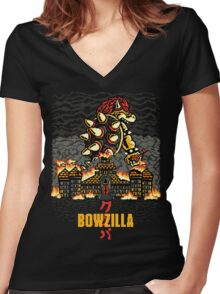 BOWZILLA Women's Fitted V-Neck T-Shirt