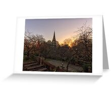 Sunrise, St Cuthbert's Church and Edinburgh Castle Greeting Card