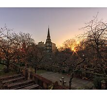 Sunrise, St Cuthbert's Church and Edinburgh Castle Photographic Print